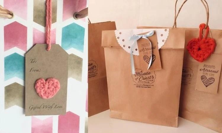 Etiquetas de coração de crochê para embalagens criativas