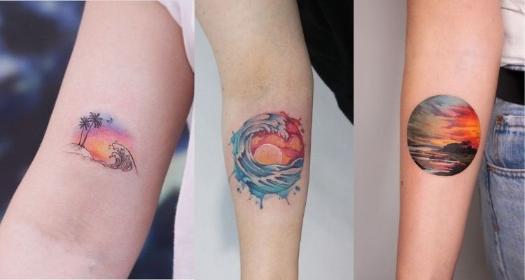 tatuagem de pôr do sol na praia