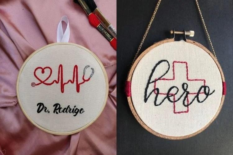 Dois bordados em bastidor com tema Medicina