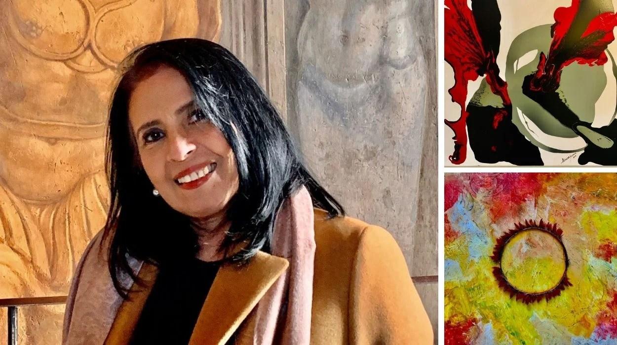 montagem com foto de Alcinda Saphira ao lado de duas de suas obras