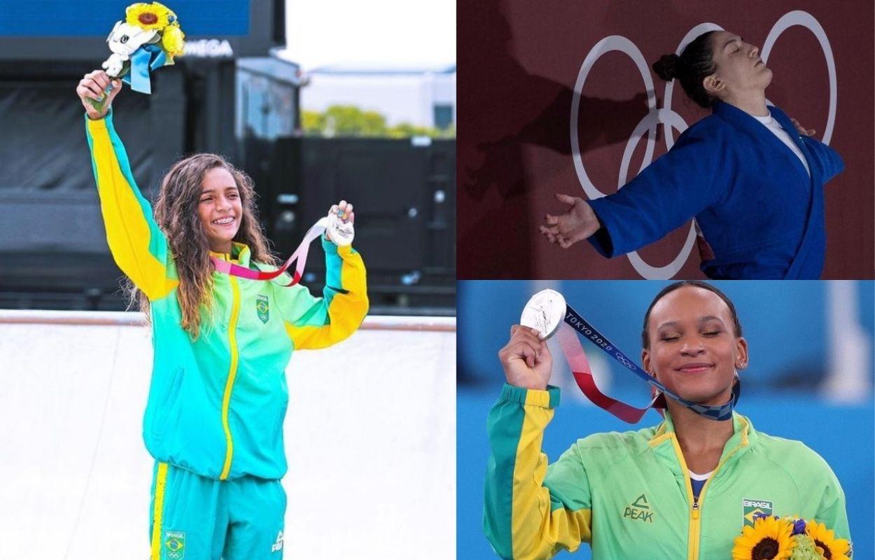 montagem com fotos de mulheres nas Olimpíadas: Rayssa Leal, Mayra Aguiar e Rebeca Andrade