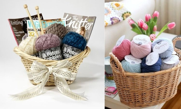 cesta com materiais de tricô