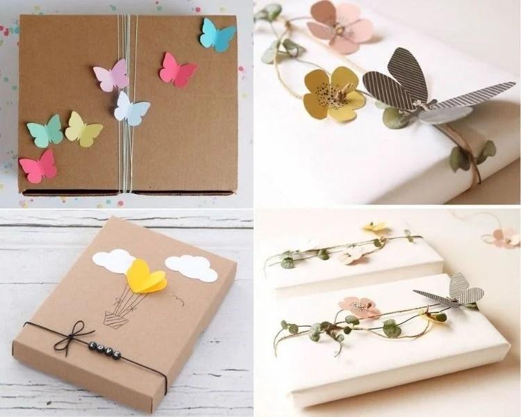 Embalagens criativas com borboletas, corações e flores de papel