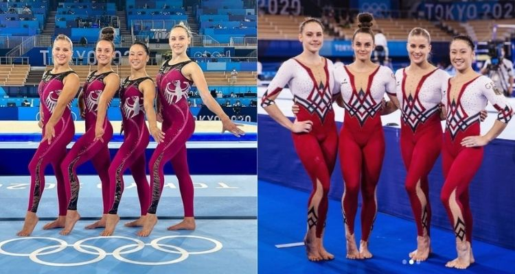 Montagem com duas fotos das ginastas alemãs nas Olimpíadas 2021