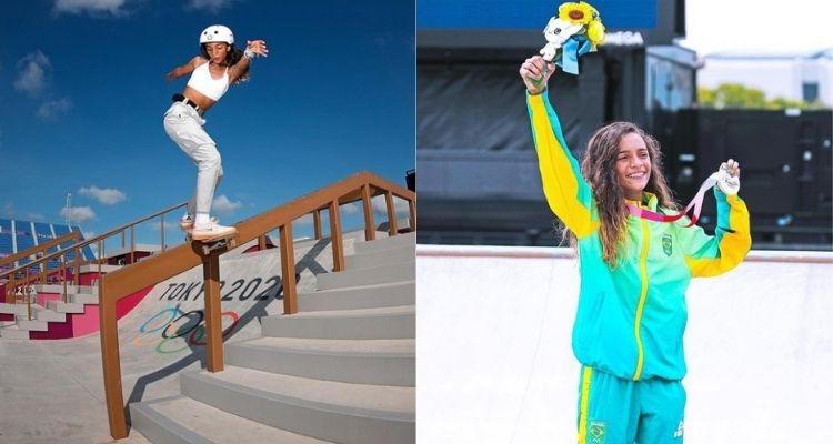 Montagem com duas fotos da skatista Rayssa Leal nas Olimpíadas de Tóquio