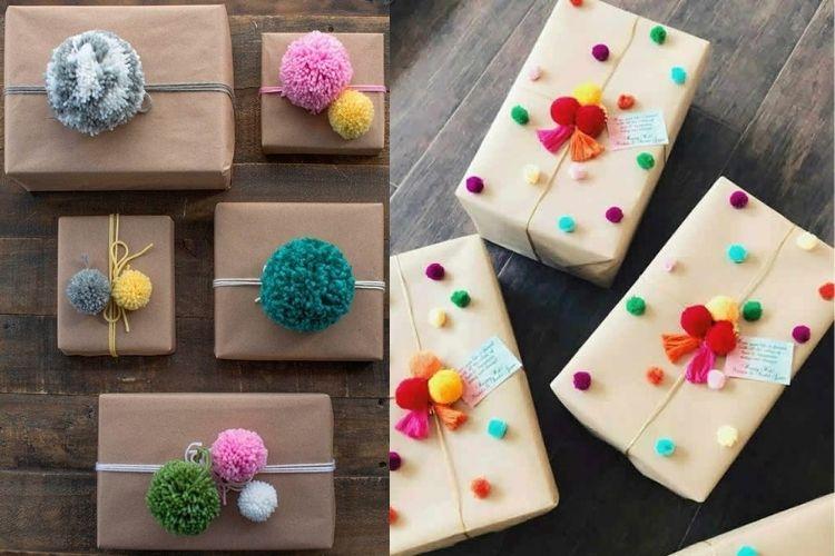 Embalagens criativas com aplicação de pompom colorido