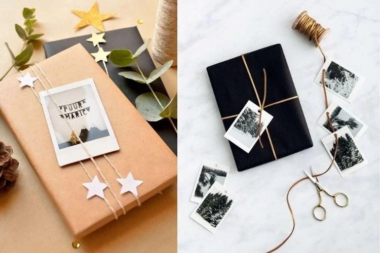 Embalagens criativas com colagem de fotos polaroid