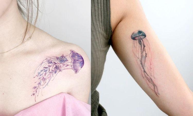 tattoo de água-viva
