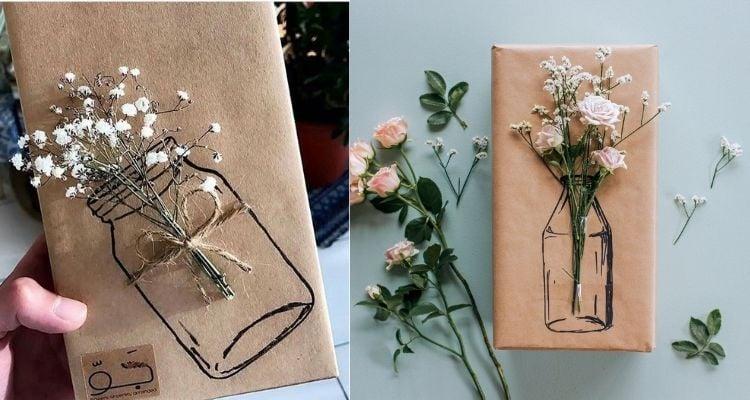 Embalagens criativas de papel kraft e flores naturais