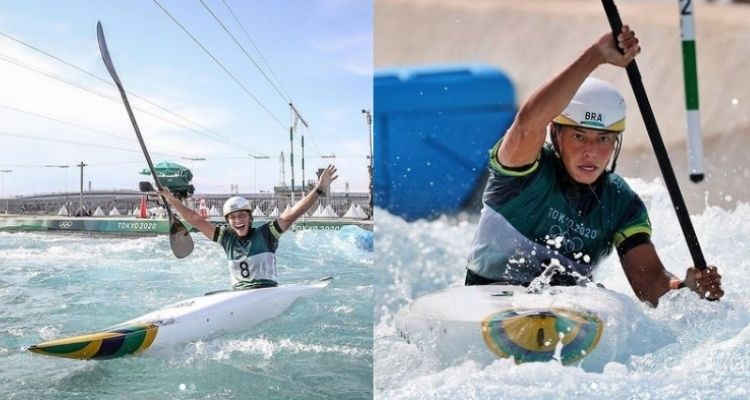 Montagem com duas fotos da atleta Ana Sátila nas Olimpíadas de Tóquio