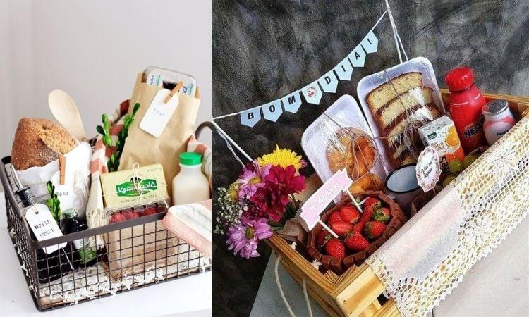 duas ideias de caixa para café da manhã