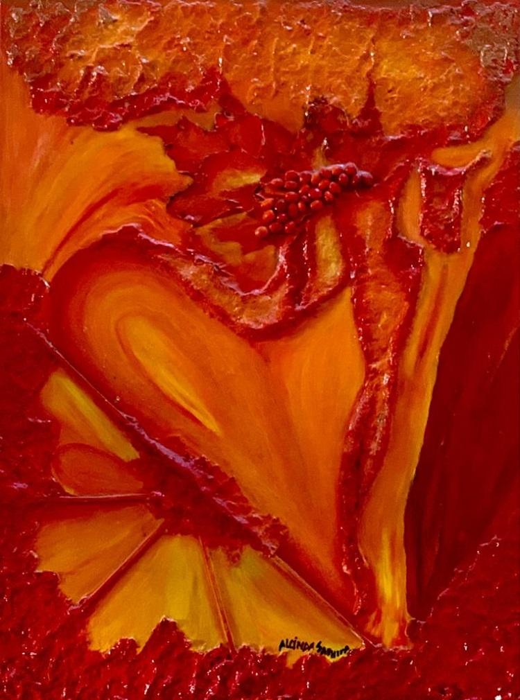 Pintura abstrata da artista plástica e galerista Alcinda Saphira
