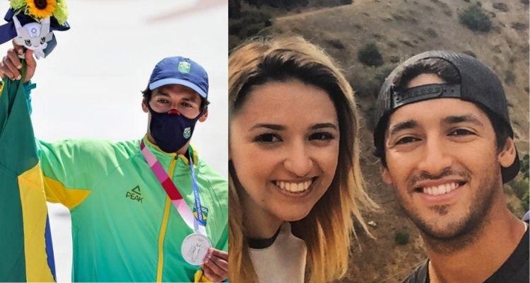 Montagem com duas fotos de Kelvin Hoefler nos Jogos Olímpicos de Tóquio