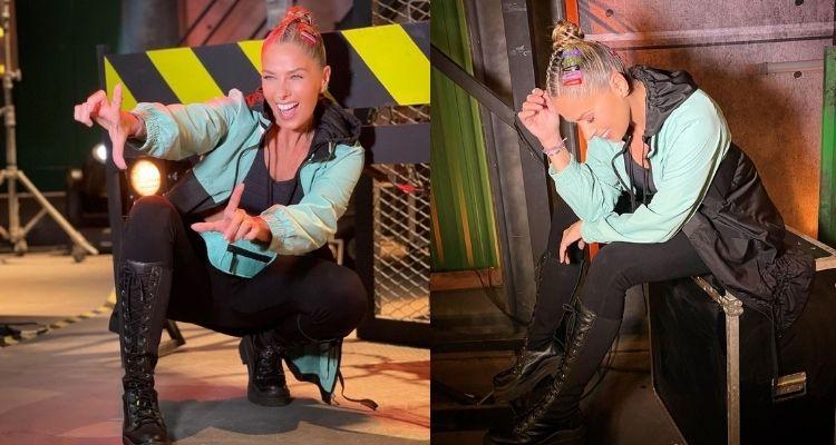 duas fotos de Adriane Galisteu com trança unicórnio no cabelo