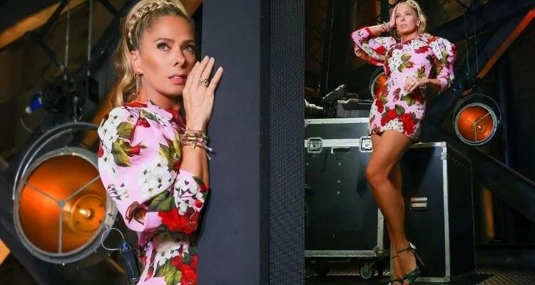 duas fotos de Adriane Galisteu usando tiara de trança