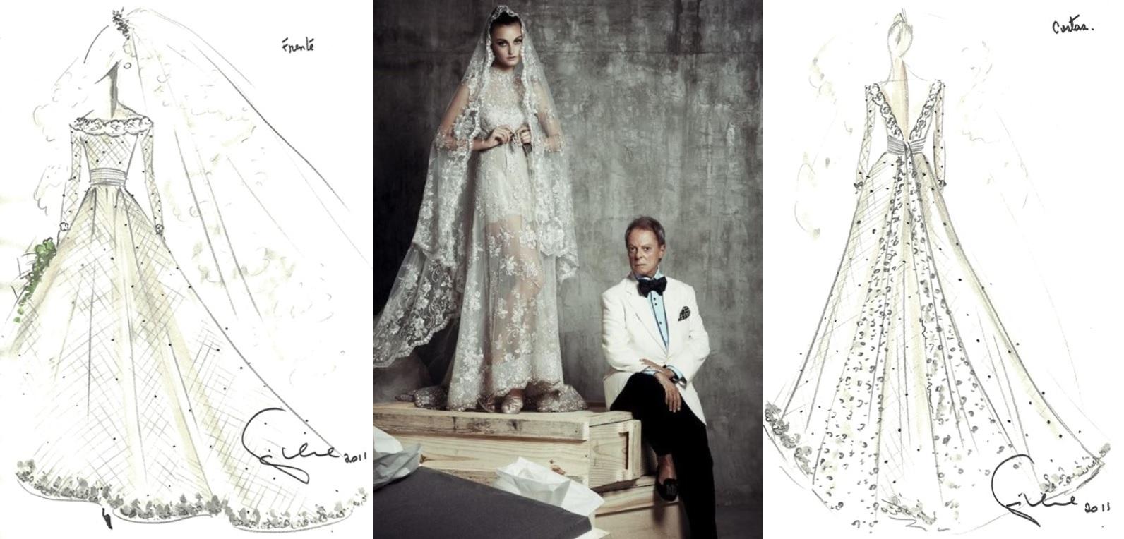 Croquis de um vestido noiva de Guilherme Guimarães de 2011 feitos para um concursos de vestidos para o casamento de Kate Middleton e uma foto do estilista posando com uma modelo vestida de noiva