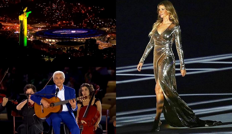 Fotos de cenas da abertura das Olimpíadas Rio 2016.