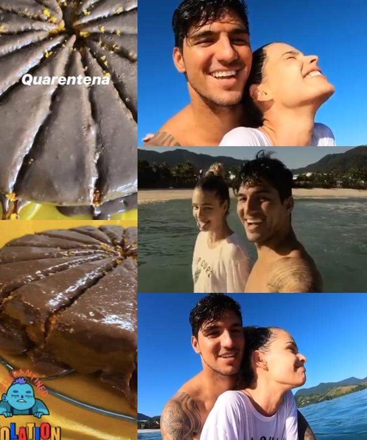Fotos de Yasmin e Gabriel aprendendo a surfar e do stories do bolo.