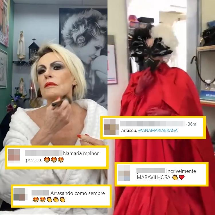 Foto com comentários sobre o figurino de Ana Maria.