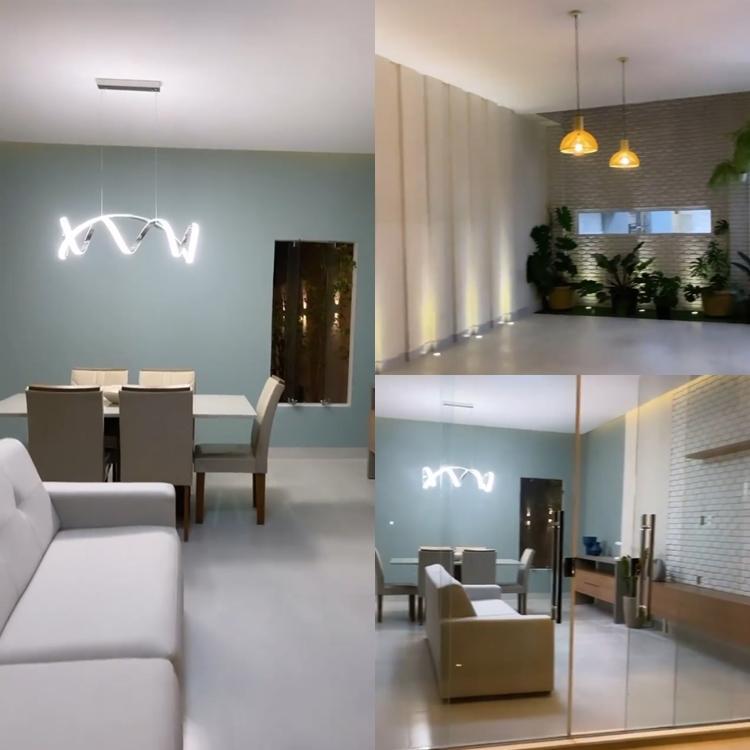 Foto montada com três fotos mostrando detalhes da nova casa de Maria e Virgílio.