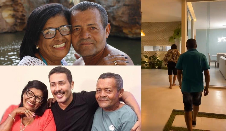 Foto dos pais de Carlinhos Maia com ele e conhecendo nova casa.