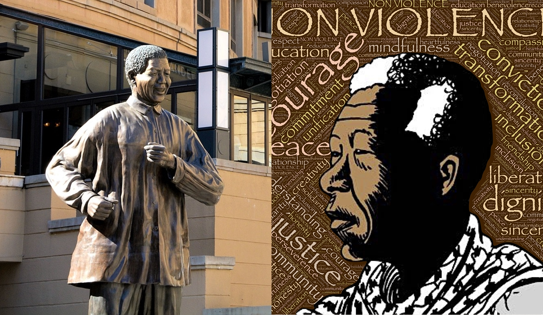 Foto de estátua de Nelson Mandela e uma arte digital.