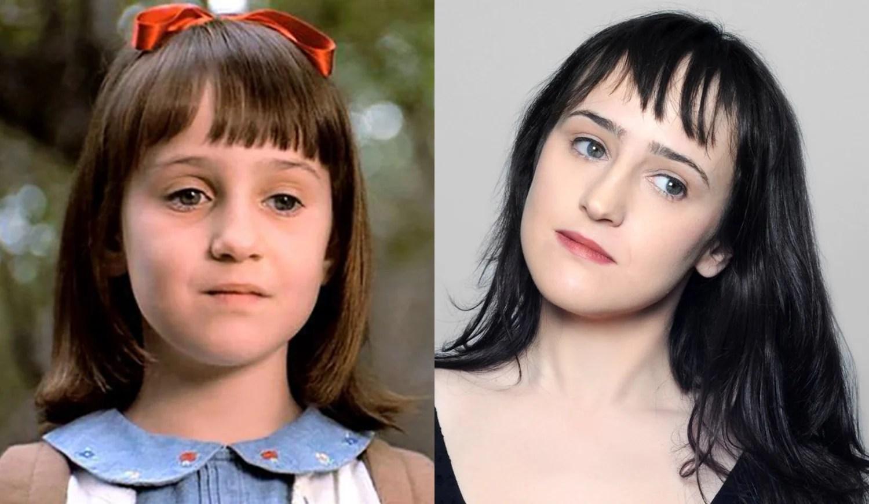 """Foto de Mara Wilson no filme """"Matilda"""" e atualmente."""