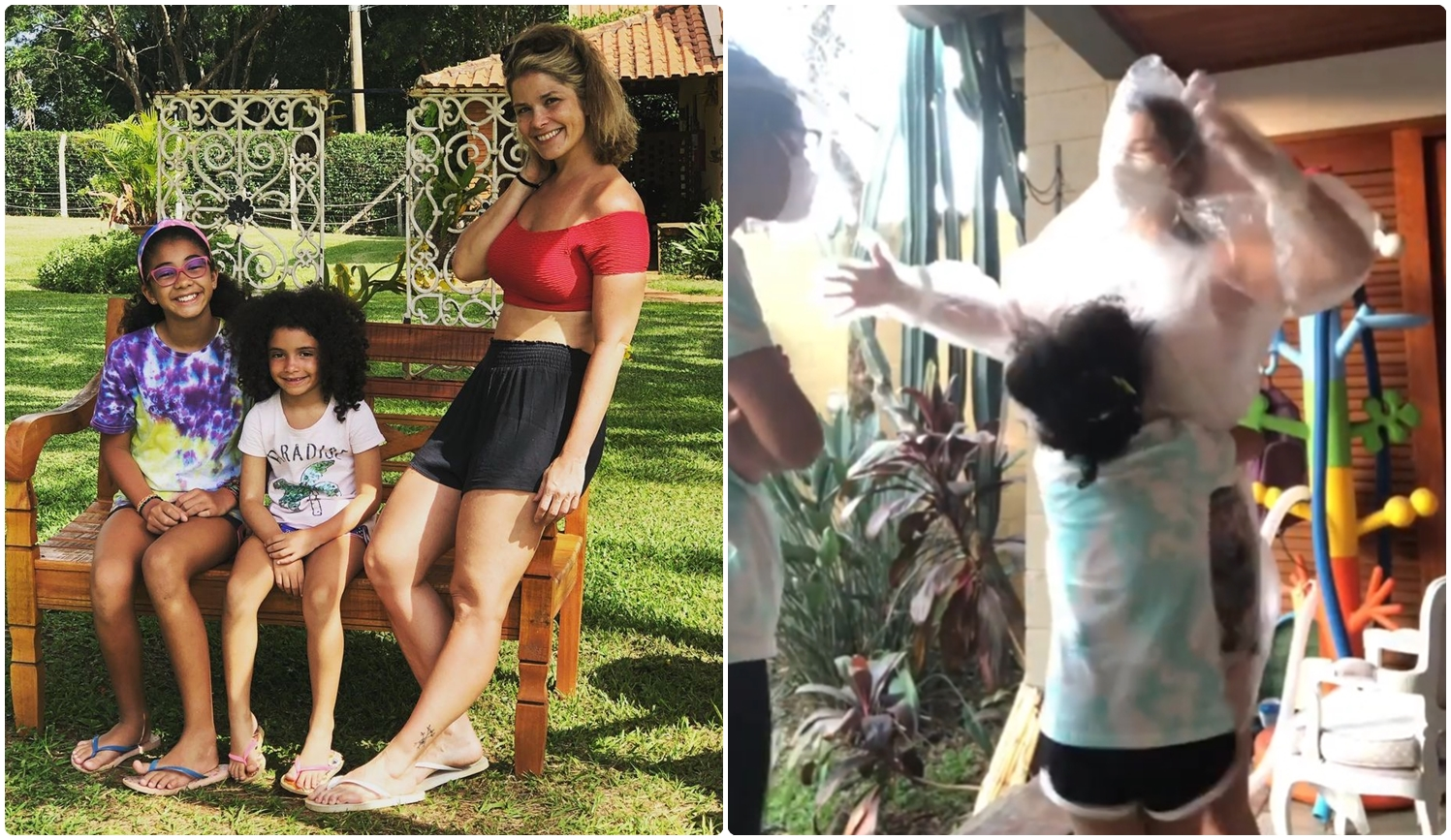 Foto de Samara e as filhas e print de vídeo.
