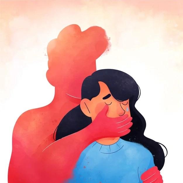 ilustração mulher refém chorando