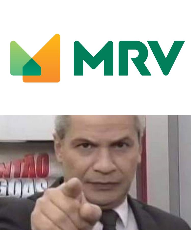 Montagem do âncora do cidade alerta e a logo da MRV.