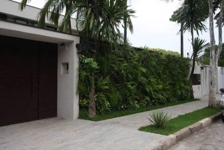 Muro com jardim vertical.