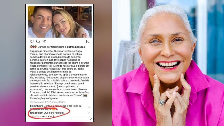 """Fafá de Belém não poupa comentários """"negativos"""" à Tiago, após cirurgia de faloplastia. Fonte: Montagem/ Fashion Bubbles"""
