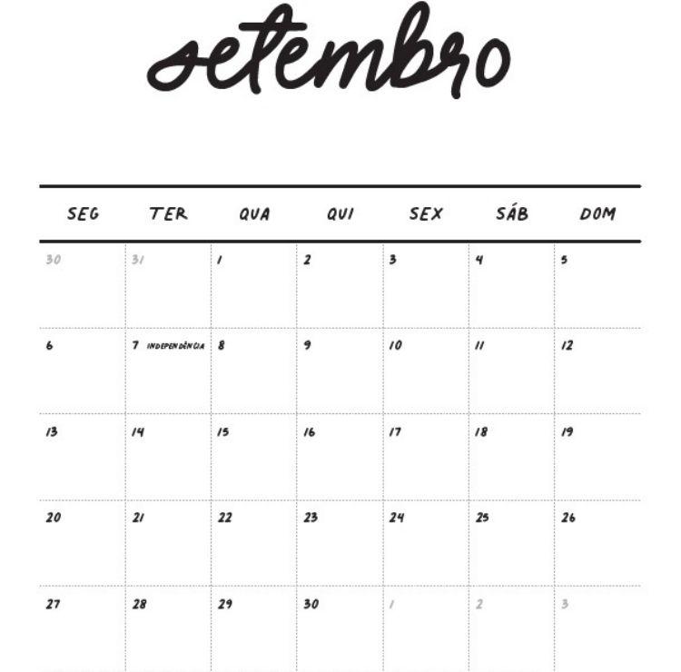 Foto de calendário de setembro da Loja Pequenas Causas