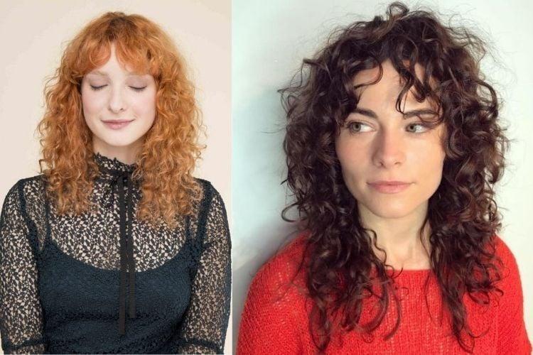 Duas fotos de mulheres com curtain bangs cabelo cacheado