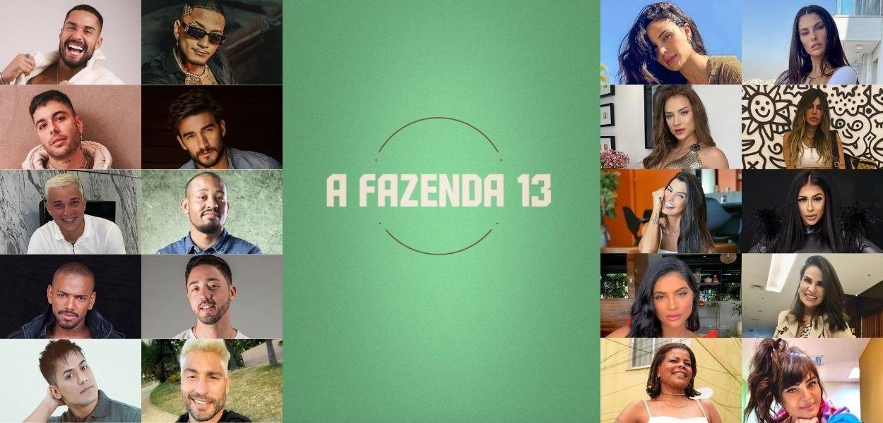 Montagem com fotos de logo e participantes de A Fazenda 13