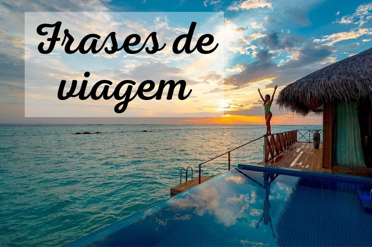 """Foto de pôr-do-sol nas Maldivas com texto """"Frases de viagem"""" escrito"""