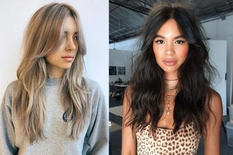 Duas mulheres com franja cortininha cabelo longo
