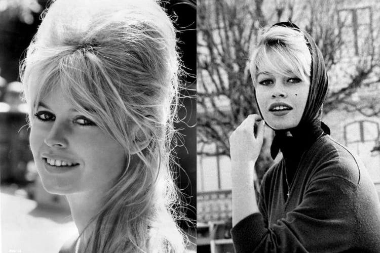 Montagem com duas fotos da atriz Brigitte Bardot nos anos 1960