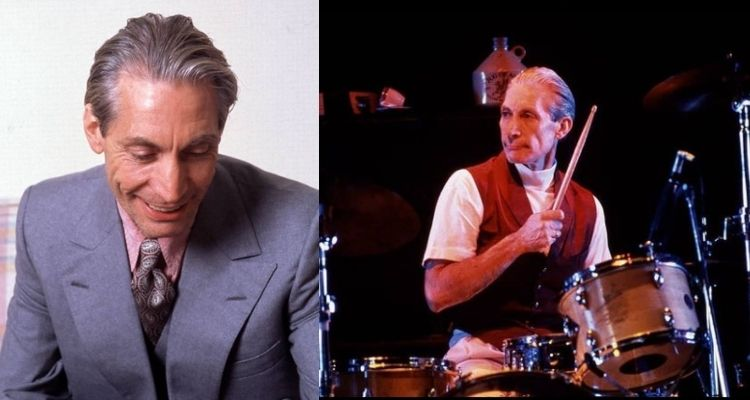 duas fotos do baterista da banda The Rolling Stones