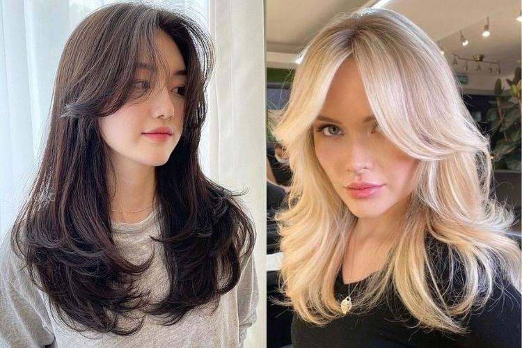 Duas fotos de mulheres de cabelo longo com curtain bangs cabelo liso