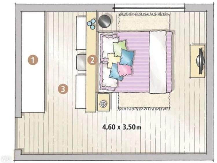 planta de quarto com closet colorida.