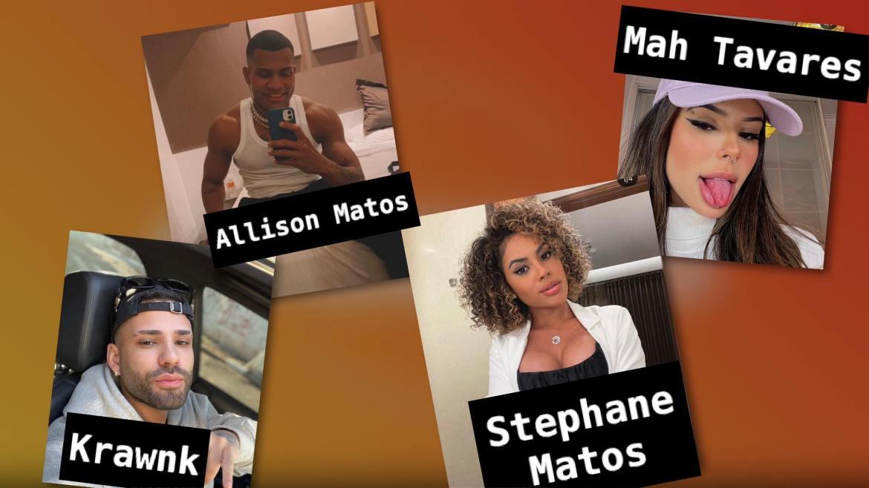 A blogueira Stephane Matos, o rapper Krawnk, a titktoker Mah Tavares e o bailarino Allison Jordan estarão na roça do primeiro dia de A Fazenda 2021. Montagem: Fashion Bubbles