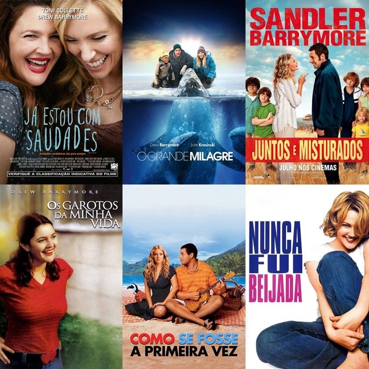 Foto com seis filmes que Drew Barrymore atuou.