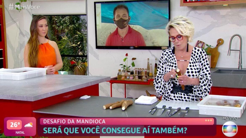 Ana Maria Braga estra no desafio de descascar a mandioca em uma tacada só. Imagem: Reprodução/ Globo
