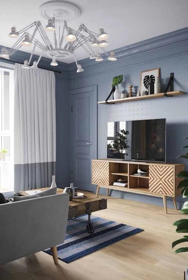 Azul na decoração da sala