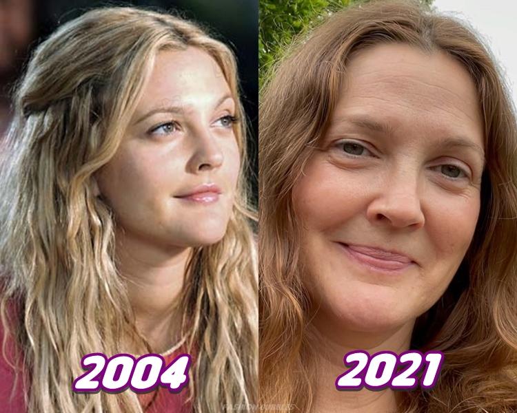 Foto de Drew Barrymore em 2004 e em 2021.