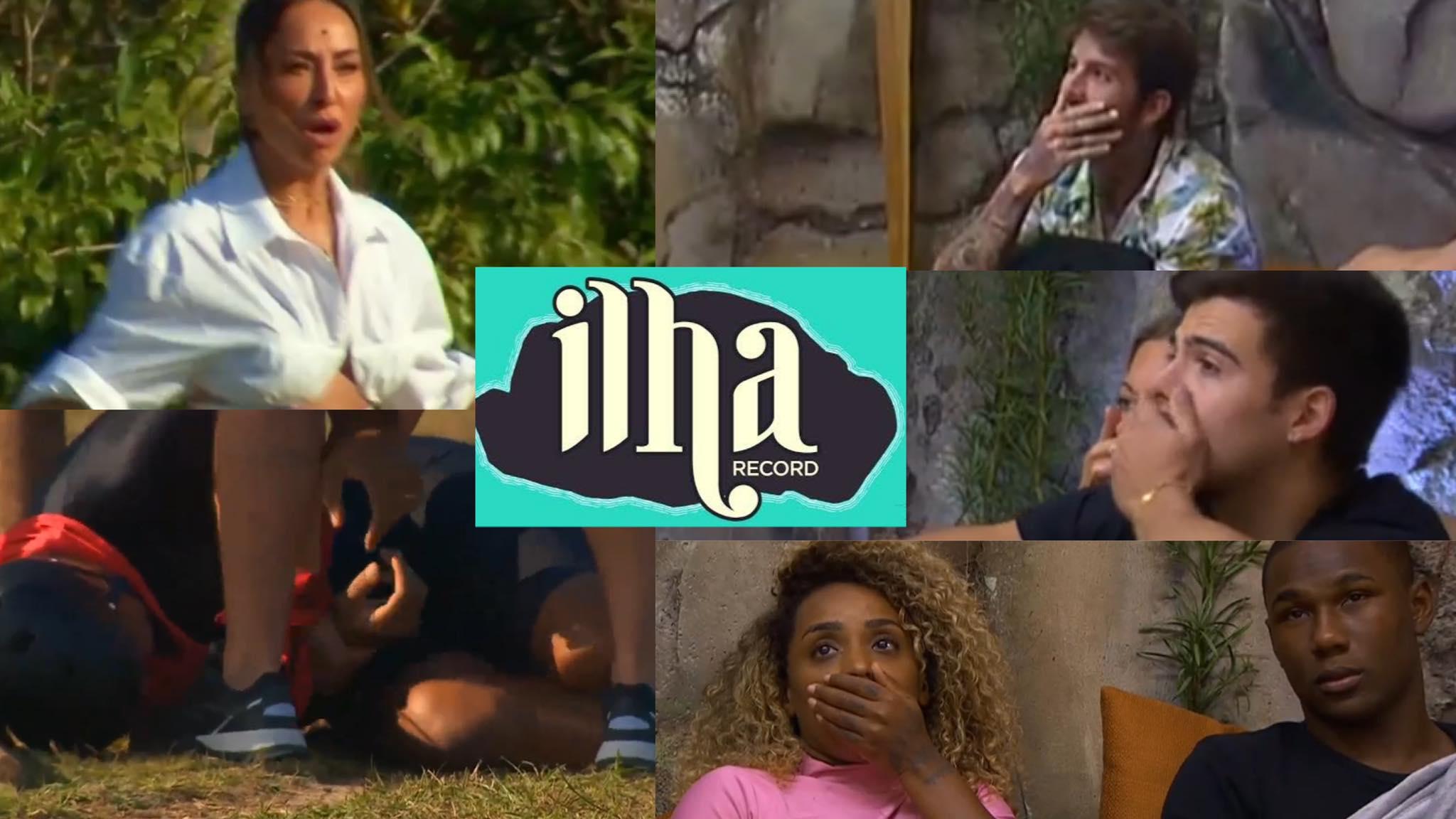 Acidente com Dinei marca episódio de segunda-feira, 30 do Ilha Record. Fonte: Reprodução