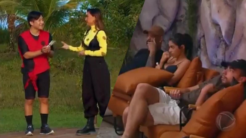 Mirella, Dinei e Lucas Selfie amargam a derrota ao ver Pyong recebendo partes do mapa do Ilha Recor. Fonte: Montagem/ Fashion Bubbles
