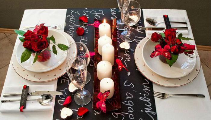 jantar romântico à luz de velas