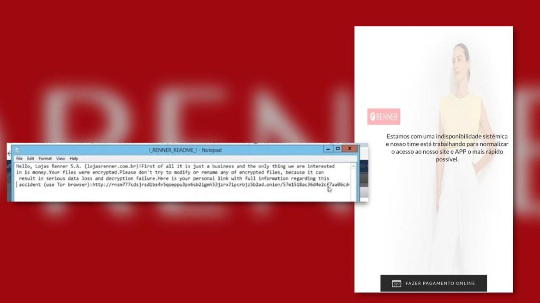 Hacker pede valor bilionário para devolver o site para a Lojas Renner. Fonte: Instagram